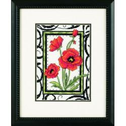 Dimensions | kit  broderie  point de croix  compté  Coquelicots en fleurs | Dimensions  D65064 | Broderie du monde
