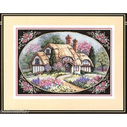 Dimensions | kit  broderie  point de croix  compté  Cottage enchanté | Dimensions  D70-006710 | Broderie du monde