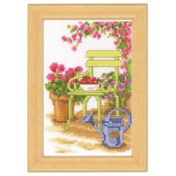 Vervaco | kit  broderie  point de croix  compté  Miniature  Chaise de jardin | Vervaco  0003720 | Broderiedumonde