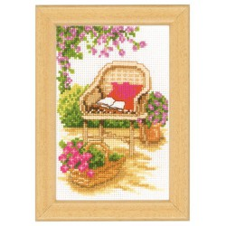 Vervaco | kit  broderie  point de croix  compté  Miniature  Fauteuil de jardin | Vervaco  0003721 | Broderiedumonde