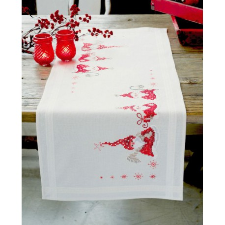 Vervaco chemin de table imprim avec bord incrust gnomes de no l 0146077 - Chemin de table de noel ...