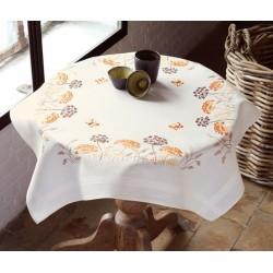 Vervaco | kit  Nappe  Herbes oranges avec papillons | Vervaco  0148207 | Broderie du monde