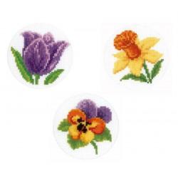 Vervaco | kit  point de croix  compté  Carte de vœux  Jonquille  tulipe  violette | Vervaco  0147924 | Broderie du monde