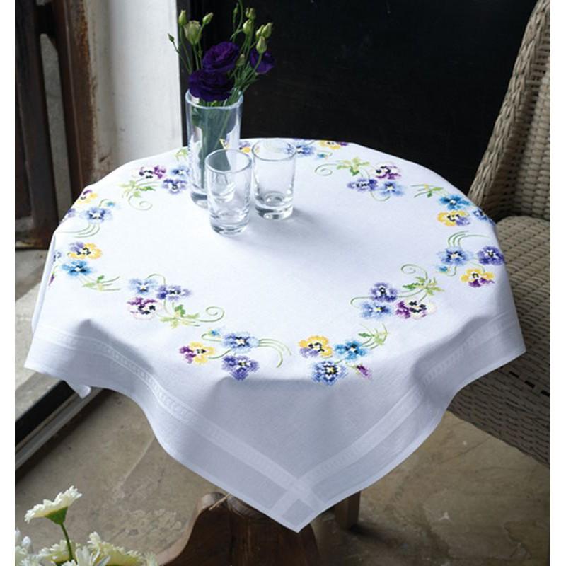 vervaco kit nappe imprim bord incrust les plus belles violettes vervaco 0145232 boutique. Black Bedroom Furniture Sets. Home Design Ideas