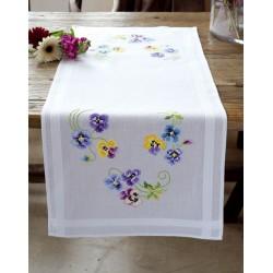 Vervaco | kit  Chemin de table  Les plus belles  violettes | Vervaco  0145233 | Broderie du monde