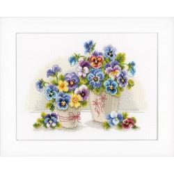 Vervaco | kit  broderie  point de croix  compté  Vases avec violettes | Vervaco  0146578 | Broderie du monde