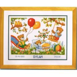 Vervaco | kit  broderie  point de croix  compté  Registre de naissance  Dylan | Vervaco  0011997 | Broderie du monde