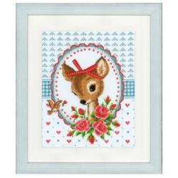 Vervaco | kit  broderie  point de croix  compté  Bambi avec roses | Vervaco  0150452 | Broderie du monde