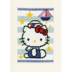 Vervaco | kit  broderie  point de croix  compté  Cartes de vœux  Hello Kitty  marine | Vervaco  0150686 | Broderie du monde