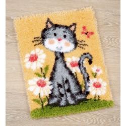 Vervaco | kit  Tapis  modelé au  point noué  Chat dans un champ de fleurs | Vervaco  0147934 | Broderie du monde