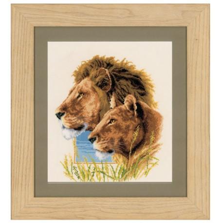 Vervaco   kit  broderie  point de croix  compté  Couple de Lions   Vervaco  0143773   Broderiedumonde