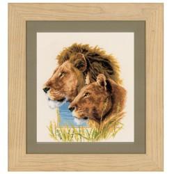 Vervaco | kit  broderie  point de croix  compté  Couple de Lions | Vervaco  0144438 | Broderiedumonde