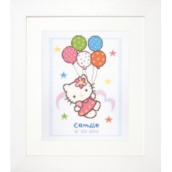 Vervaco,  kit  tableau de naissance  ballon  Hello Kitty