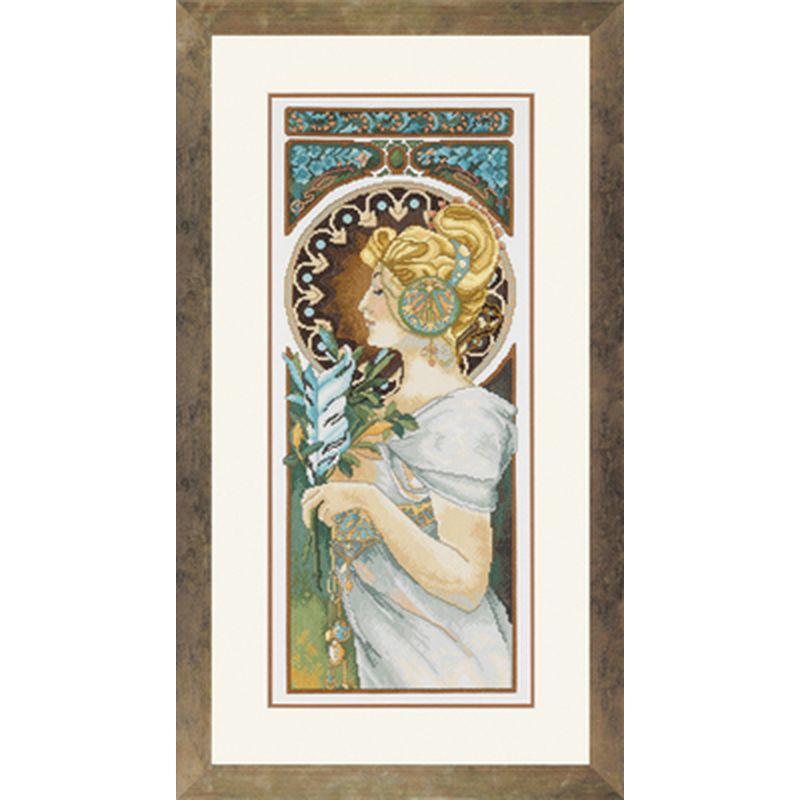 Lanarte | kit point de croix compté | Art Nouveau Mucha Quill | Lanarte 0008025 | Boutique ...