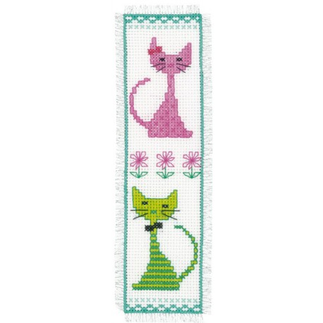 Vervaco,  kit  marque-page  Chat  rose  et  vert