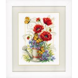 Vervaco,  kit  Arrosoir  avec  fleurs