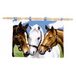 Vervaco  kit  Point de croix  Tapis  mural  3 chevaux