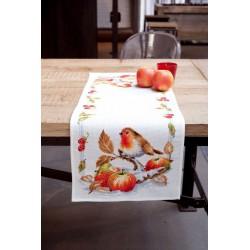 Vervaco,  kit  Chemin  de  table  Rouge-gorge  avec  des  pommes