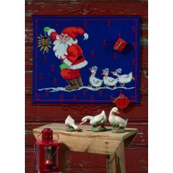 Permin,  Calendrier  de  l'Avent,  Père  Noël  et les  Oies  34-4242