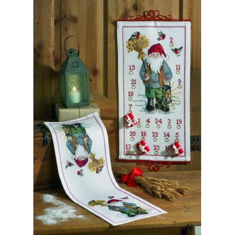 Permin,  Chemin  de  table  Père  Noel  et  Oiseaux