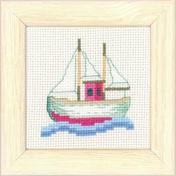 Permin,  Kit  point  de  croix  compté  Bateau  de  pêche