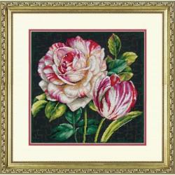 Dimensions,  kit  broderie  point de croix  compté  Drame  de  tulipe