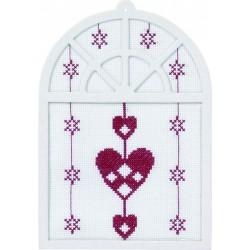 Permin,  Kit  point  de  croix  compté  Cœurs  de  Noël