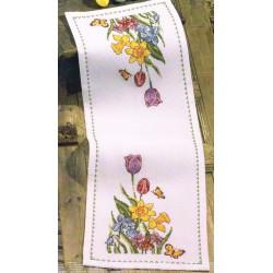 Permin  Chemin  de  table  Tulipes  et  Jonquilles  Broderie  point  de  croix  compté