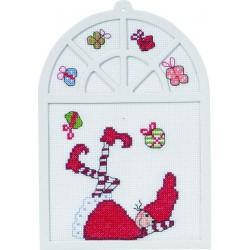 Permin,  Kit  broderie  point  de  croix  compté  Gnome  avec  cadeaux