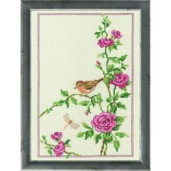 Permin  Oiseau  sur  un  rosier  92-9166