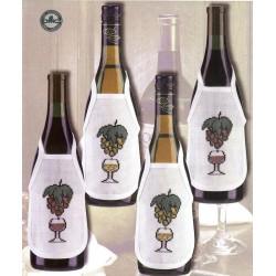 Permin,  Kit  Broderie  Point  de  croix  compté  Tabliers  de  Bouteille  Le  Vin