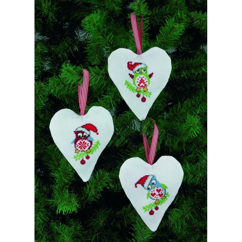Permin   kit point de croix compté Décoration de Noël Chouettes   Permin 21-4238   Boutique ...