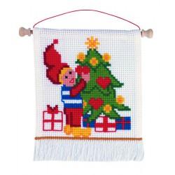 Permin  kit  broderie  point  de  croix  compté  Pixie  avec  arbre  de  Noël
