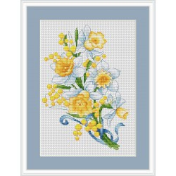 Luca-S  kit  broderie  point  de  croix  compté  Narcisses  et  Mimosas  B126