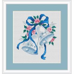 Luca-S  kit  broderie  point  de  croix  compté  Cloches  ruban  bleu  et  roses  B127
