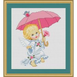 Luca-S  kit  broderie  point  de  croix  compté  Angelot  avec  parapluie  B192