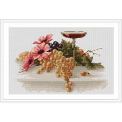 Luca-S  kit  broderie  point  de  croix  compté  Fleurs  et  raisins  B214