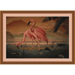 Luca-S  kit  broderie  point  de  croix  compté  Flamants Roses  B339
