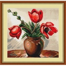 Luca-S  kit  broderie  point  de  croix  compté  Vase  de  Tulipes  B341