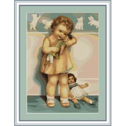 Luca-S  kit  broderie  point  de  croix  compté  Petite  fille  jouant  à  la  poupée  B370