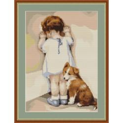 Petite  fille  au  coin  avec  son  chien  B371  Luca-S