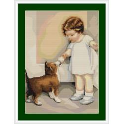 Luca-S  kit  broderie  point  de  croix  compté  Petite  fille  et  son  chien  B372