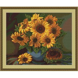 Luca-S  Vase  de  Tournesols  B440  kit  broderie  point  de  croix  compté