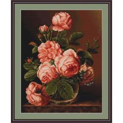 Luca-S  Vase  de  Roses  B 488  kit  broderie  point  de  croix  compté