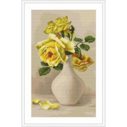Luca-S  Roses  jaunes  dans  un  vase  B 508  kit  broderie  point  de  croix  compté