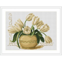 Luca-S  Vase  de  Tulipes  B 2217  kit  broderie  point  de  croix  compté