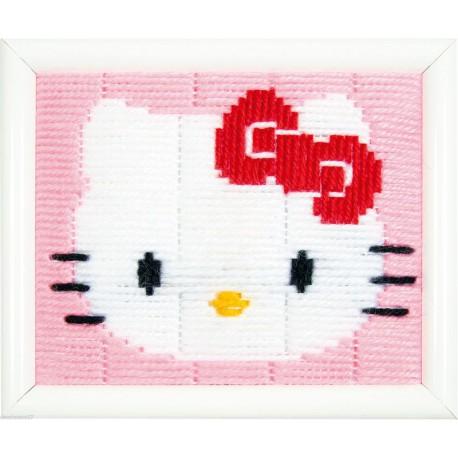 Vervaco  Hello  Kitty  0148232  Kit  broderie  au  point  lancé  sur  canevas  imprimé