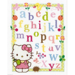 Vervaco  ABC  avec  Hello  Kitty  0148694  Kit  broderie  au  point  de  croix  compté