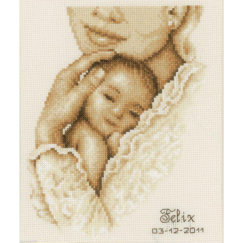 Vervaco tableau de naissance maternit 0012168 kit - Tableau de naissance point de croix gratuit ...