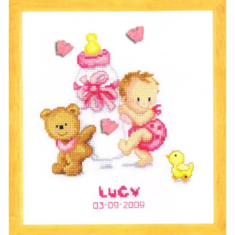 Vervaco tableau de naissance fille 0012677 kit - Point de croix grille gratuite naissance ...